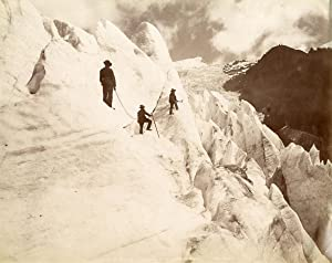 France, Mont-Blanc, Glacier des Bossons, ascension de la pyramide de glace