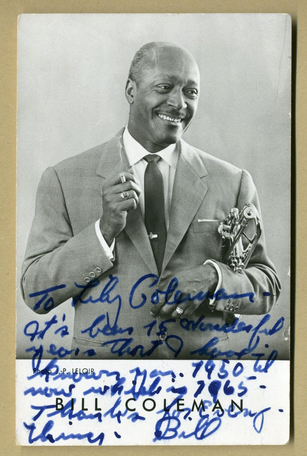 Bill_Coleman_19041981__RARE_photo_signed_to_his_wife_Lily_Bill_Coleman_19041981__American_jazz_trumpeter_Bon