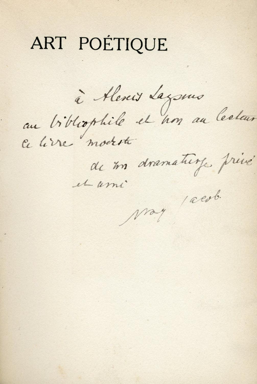 Art_poétique__Enrichi_denvoi_autographe_signé_Max_Jacob_18761944__Peintre_poète_moderniste_et_romancier_français_Bon_Couverture_souple