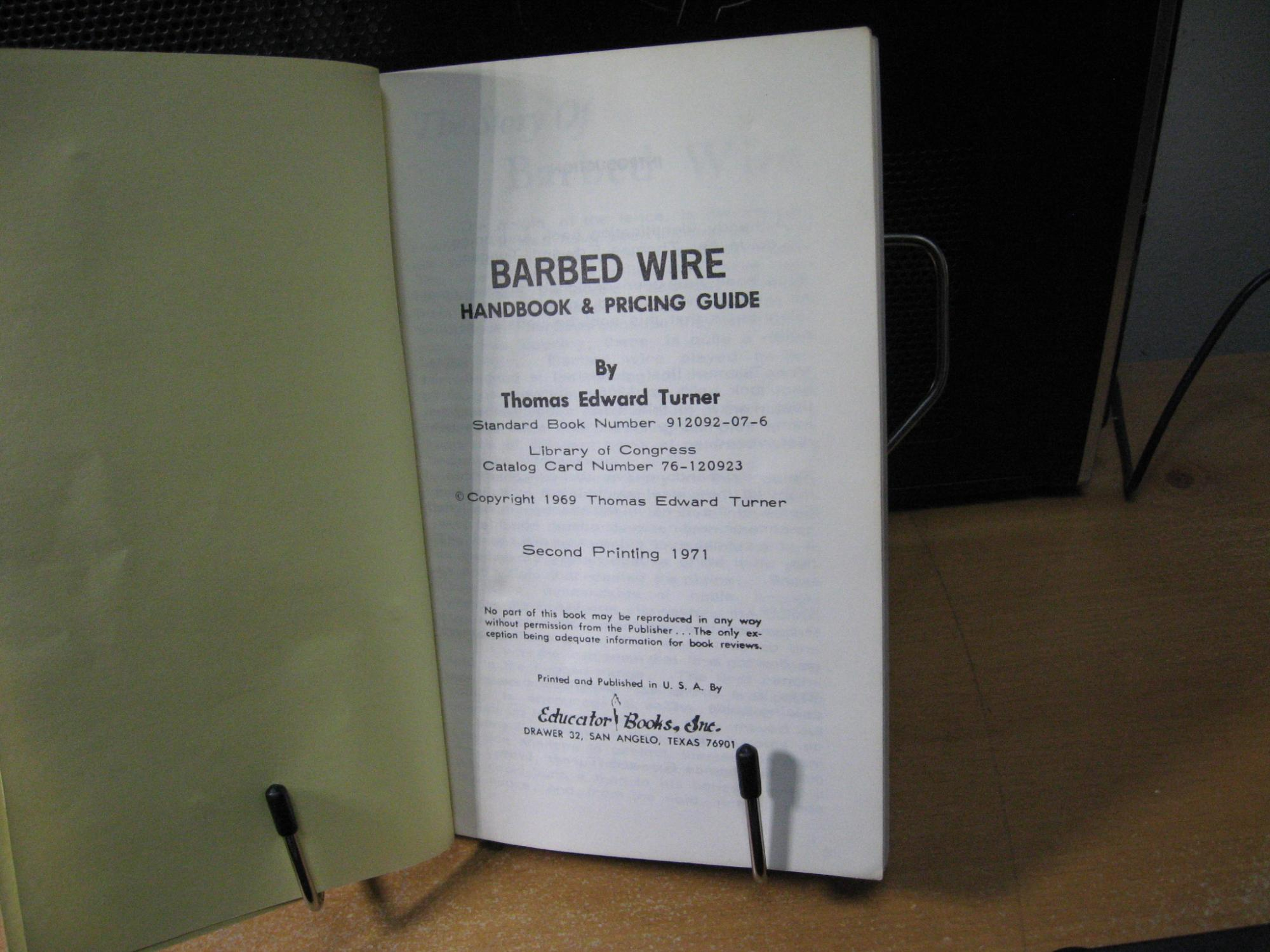Barbed Wire Handbook And Pricing Guide By Turner Thomas E Wiring For Dummies Books