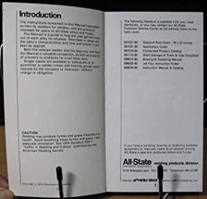 Instruction Manual and Catalog, All-State Welding Products