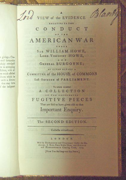 A View Of The Evidence Relative to the Conduct of The American War Under Sir William Howe, Lord ...