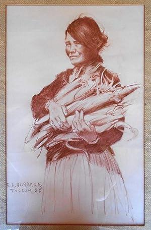 Indian Girl with Corn: BURBANK, E[lbridge] A[yer]