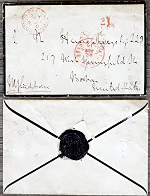 Envelope addresses and signed by Gladstone, addressed to N. Humphreys in Boston, United States: ...