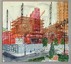Water colour painting of the Construction of the Brevoort Apartments on Fifth Avenue in New York ...