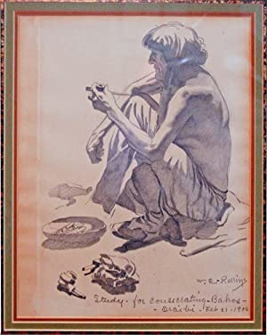 Seated Indian smoking a Pipe [Study - for consecrating - Bahos - Oraibi]: ROLLINS, W[arren]. E[...
