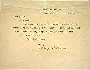Typed letter, signed to Newbegin's: OSBOURNE, Lloyd