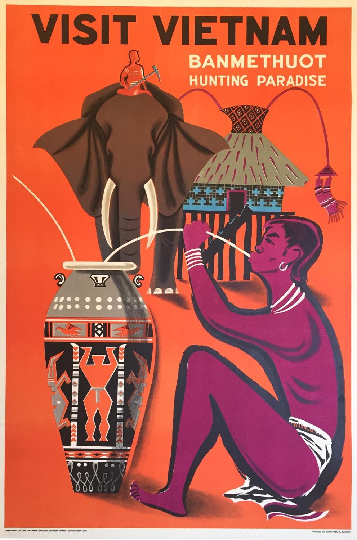Original Vintage Travel Poster - Visit Vietnam - Ban Me Thuot ...