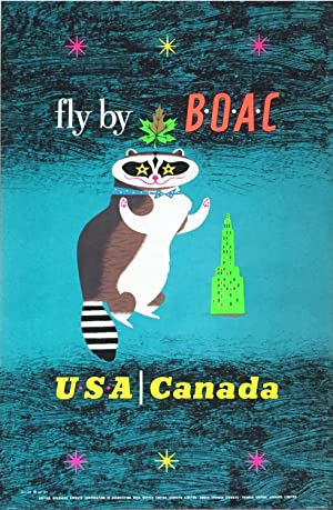 Fly by BOAC to USA & Canada - Vintage Travel Poster