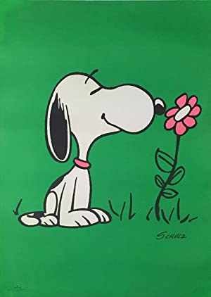 Original Vintage Poster - Snoopy with a Pink Flower
