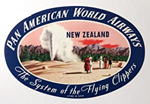 Original Vintage Luggage Label - Pan American: New Zealand