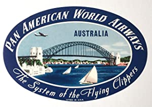 Original Vintage Luggage Label - Pan American: Australia