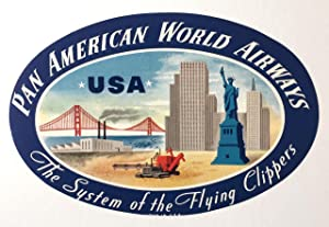 Original Vintage Luggage Label - Pan American: USA
