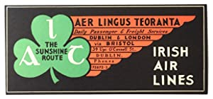 Original Vintage Luggage Label - Aer Lingus Teoranta - Irish Airlines