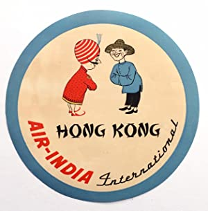 Original Vintage Luggage Label - Air India Hong Kong