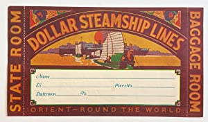 Original Vintage Luggage Label - Dollar Steamship Line: Orient - Round the World