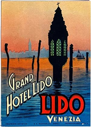 Original Vintage Luggage Label for Grand Hotel Lido, Venezia