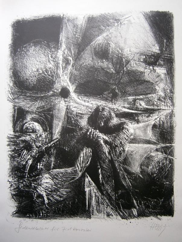 'Gedenkblatt für Ziolkowski', 52 x 42 cm (Darstellung) / 69,5 x 50 cm (Blatt).:...