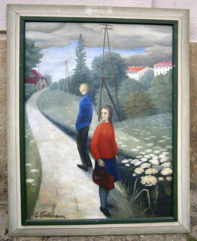 Begegnung. Öl auf Leinen. Signiert, ca. 1975. 66 x 49 cm (Bildmaß ohne Rahmen).: ...