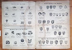 Illustrierte Preisliste über Karton-Masken aller Art für Kinder und Erwachsene, Nasen, ...