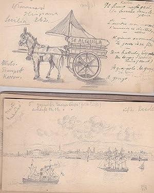 Skizzenbuch eines Reisenden mit 14 Bleistiftskizzen aus Spanien und Argentinien.