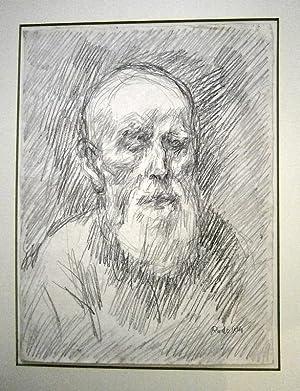 Portrait alter Mann. Bleistiftzeichnung um 1970.: Rudolph, Wilhelm.