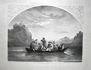 """Ueberfahrt zum Schreckenstein"""" Lithographie 1861. Im Stein: Richter, Ludwig."""