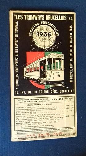 """Les Tramways Bruxellois"""".- Exposition 1935.- Plan du réseau des Tramways Bruxellois édité à l&..."""