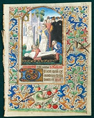 TEXT FROM THE OPENING OF THE OFFICE OF THE DEAD: AN ILLUMINATED VELLUM MANUSCRIPT LEAF WITH A FINE ...