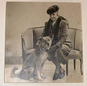 Original Photograph of Helen Keller with her Akita pure bred,