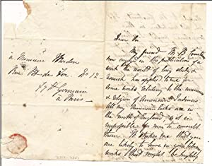 Autograph Letter Signed to M. Warden