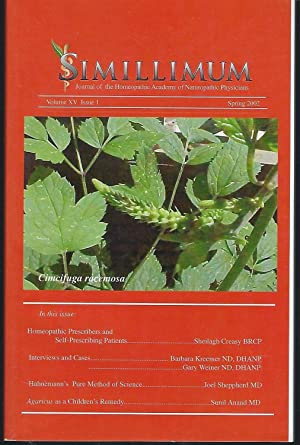 Simillimum: The Journal of the Homeopathic Academy of Naturopathic Physicians Volume XV Issue 2 S...