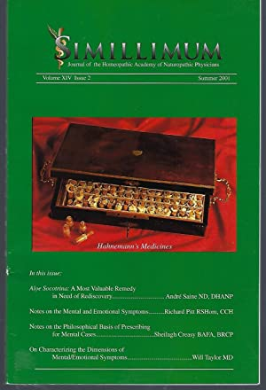 Simillimum: The Journal of the Homeopathic Academy of Naturopathic Physicians Volume XIV Issue 2 ...