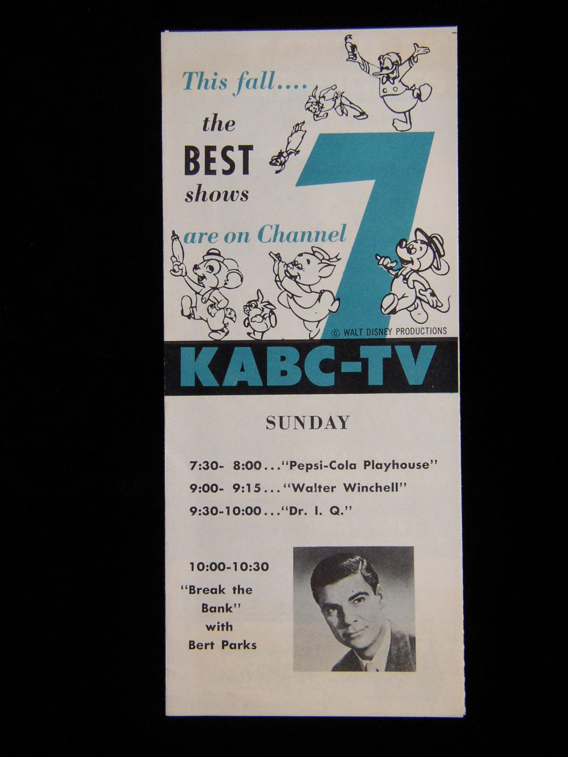 1954 fall preview kabc tv brochure featuring walt disney s