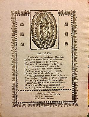 Broadside] Virgin of Guadalupe. Soneto. Quien Sino Tu, Dulcisima Maria