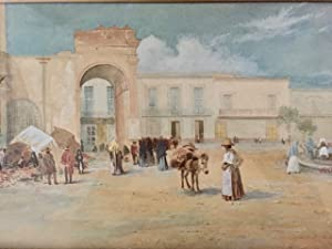 [Painting] Watercolor of a plaza in Zacatecas Mexico, showing market area, sellers, peasants mill...