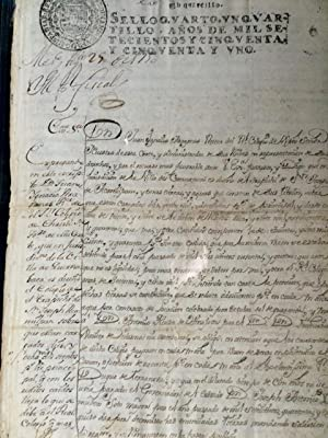 Mss. from 18th century Mexico] Don Juan Ignacio Aragones Rector del Real Colegio de Christo.