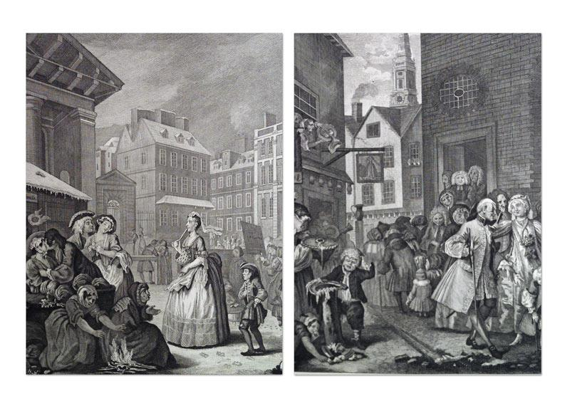 Die vier Tageszeiten. Morning. Noon. Evening. Night.: Hogarth, William und Ernst Ludwig ...