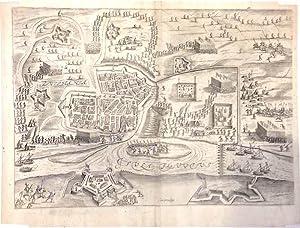 """Zvtphania"""". Zutphen. Gesamtansicht aus der Vogelschau mit Befestigungsanlagen und militä..."""