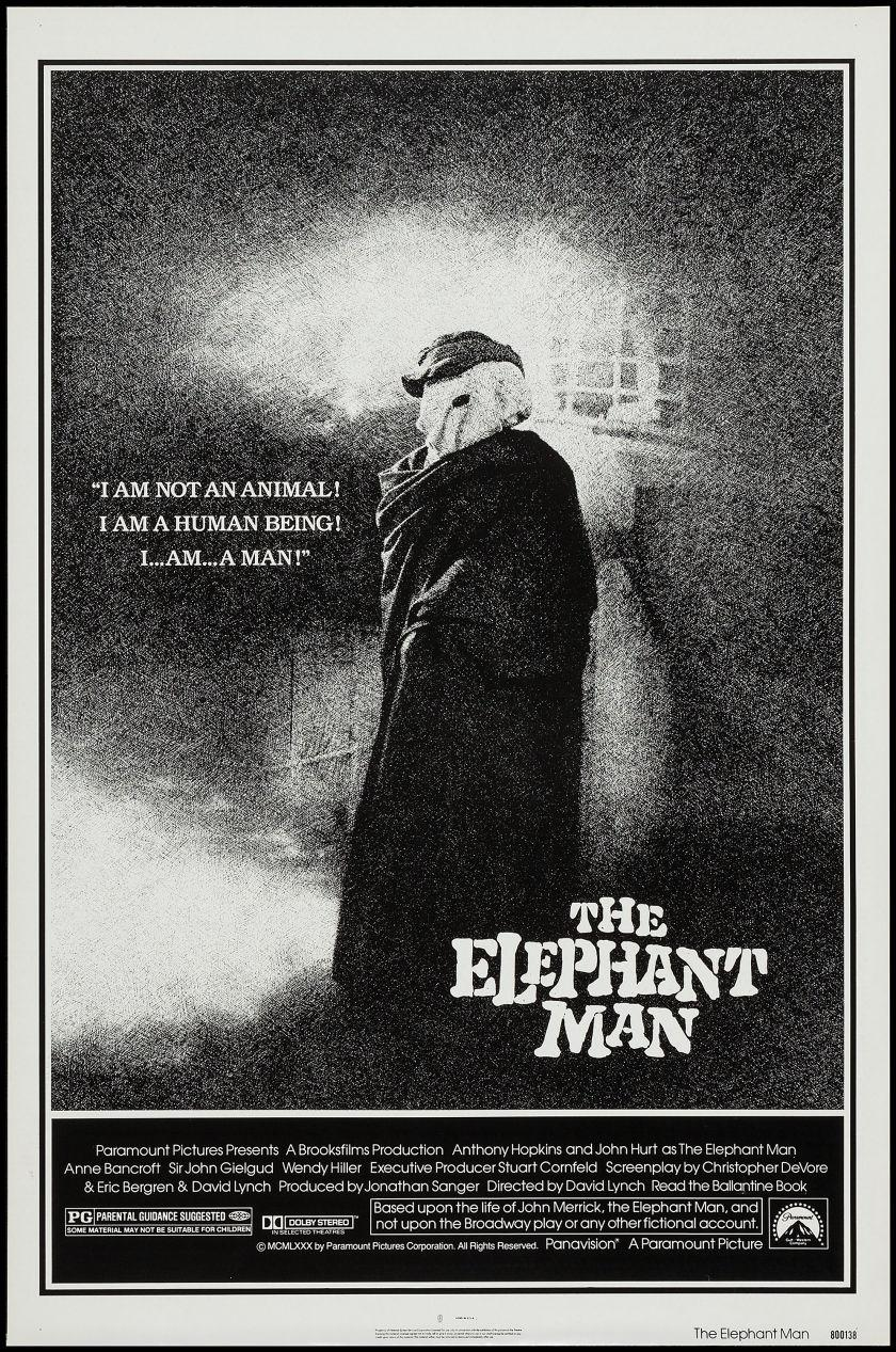 The Elephant Man. [Movie Poster]. Original movie poster. Black and white, with famous tag line ÒI am not an animal! I am a human being! I am a man!Ó Rolled. Near mint. Excellent condit