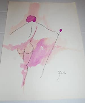 Original Hand Colored Sketch, Nude Abstract Watercolor by Risolia.: Risolia. [Sonia Risolia].