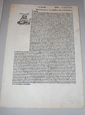 Liber Chronicarum. Nuremberg Chronicle. Single Leaf. Folio: Schedel, Hartmann.