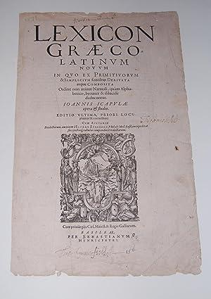 Lexicon Graecolatinum Novum In Quo Ex Primitivorum: Scapula, Johann.
