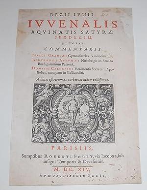 Decii Junii Juvenalis Aquinatis Satyrae Secdeim, et: Juvenal. Isaac La