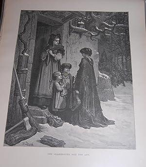 The Grasshopper and the Ant. Original Print.: Dore, Gustave. La