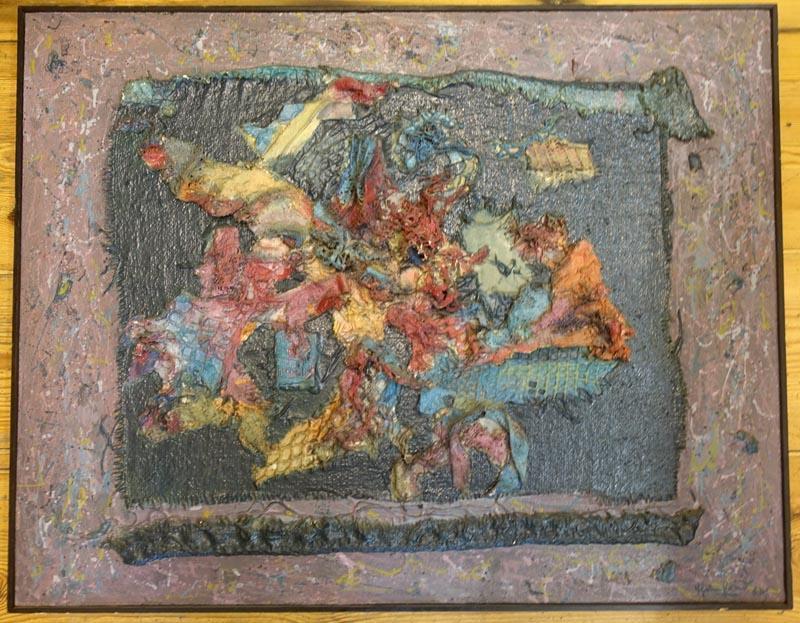 Ehrenfried Viola Informel Malerei Collage Aus Stoffresten In