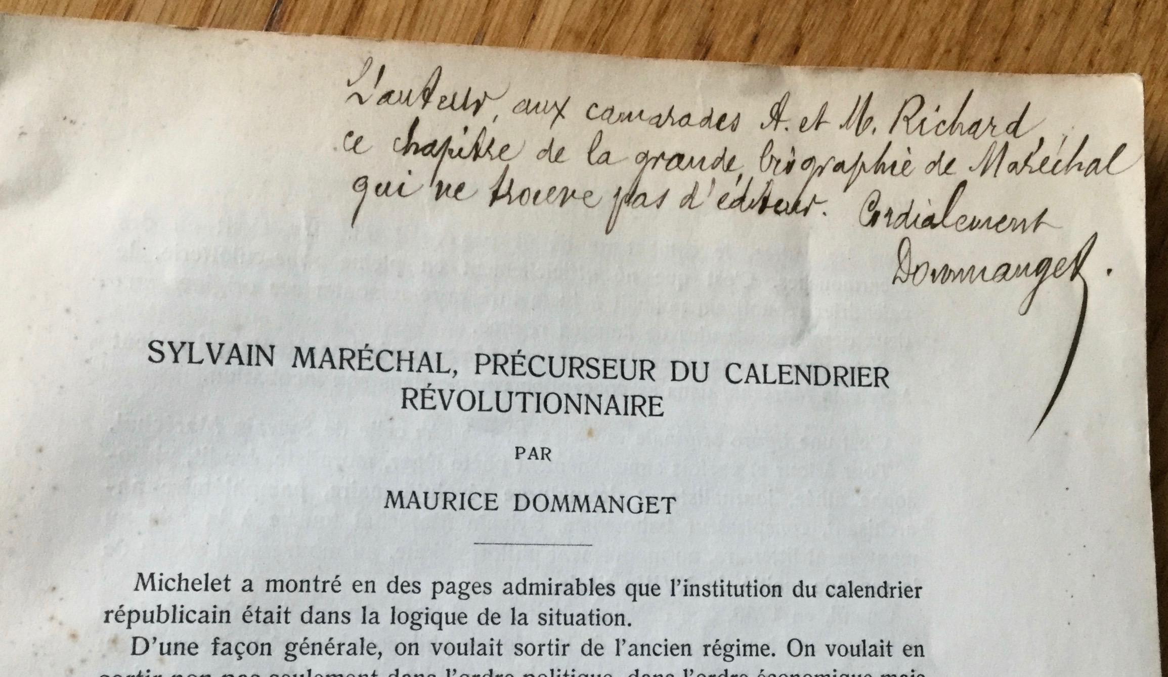 Le Calendrier Revolutionnaire.Sylvain Marechal Precurseur Du Calendrier