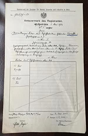 Inscription de la société VIS au registre du commerce de Vienne. Eintragung im Handelsregister, W...