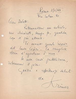 Lettera autografa firmata, datata 3 gennaio 1941: Krimer (pseud. di
