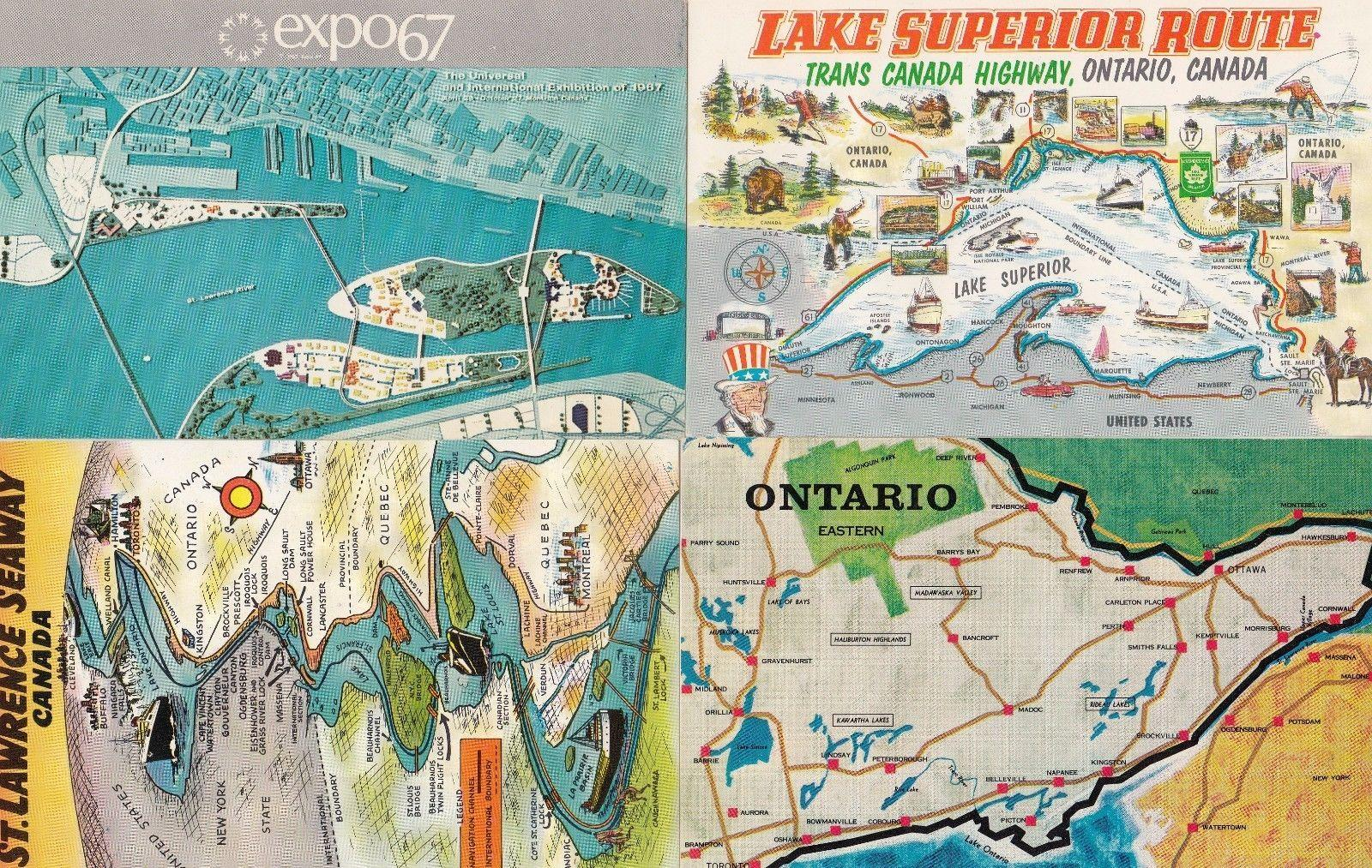 EXPO 67 Montreal Canadian Map Canada 4x Postcard s:   Postcard Finder